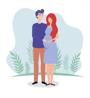 풍경에 귀여운 연인 커플 임신 문자