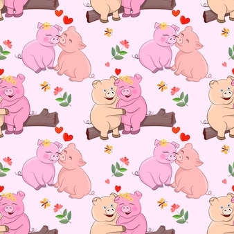 Cute lovers pigs with flowers and heart shape seamless pattern.