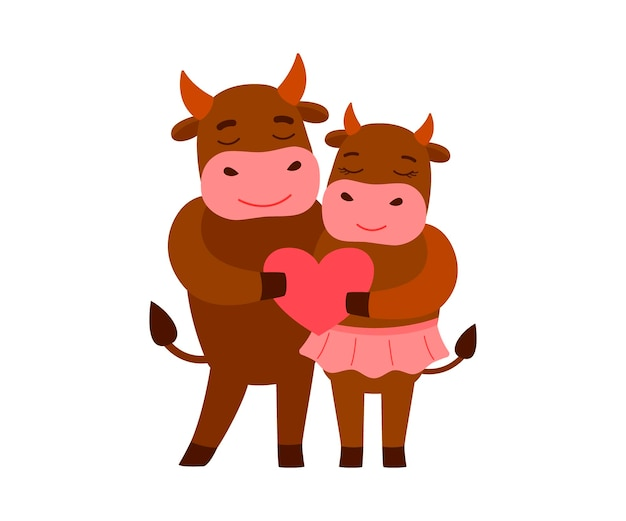 かわいい愛情のある牛を一緒に漫画イラスト