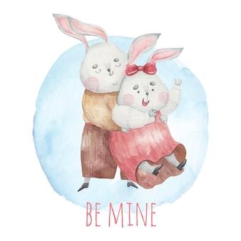 Милые любящие кролики крутятся, нежно обнимаются сзади, милая надпись, детская иллюстрация ко дню святого валентина