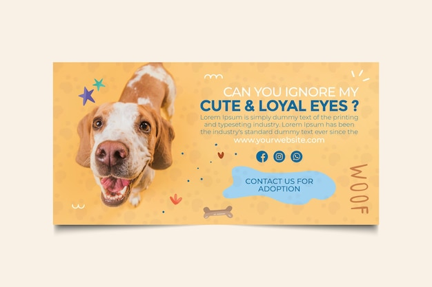 Cute and loyal eyes adopt a pet banner template