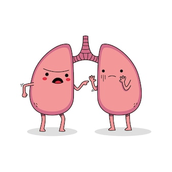 Cute lung cartoon character arguing with each other