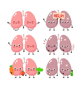 Cute lungs set. healthy and unhealthy human organ.