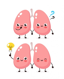 Cute lungs with question mark and lightbulb character.  flat cartoon character illustration icon . isolated on white . lungs have idea