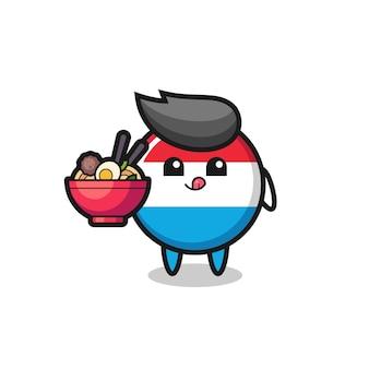 かわいいルクセンブルグの旗のバッジのキャラクターが麺を食べる、tシャツ、ステッカー、ロゴ要素のかわいいスタイルのデザイン