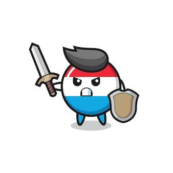 Симпатичный солдат с логотипом люксембурга, сражающийся с мечом и щитом, милый стильный дизайн для футболки, наклейки, элемента логотипа