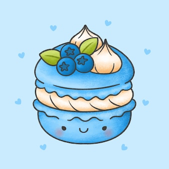 Cute macaroon with blueberry whip cream dessert cartoon hand drawn style