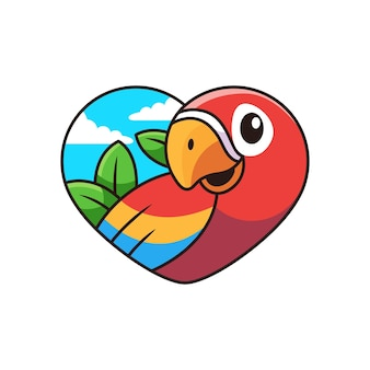 Cute macaw cartoon with love cartoon  icon illustration. animal icon concept on white background