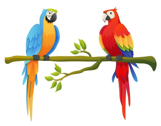 Cute macaw parrot birds set perched on a branch cartoon illustration