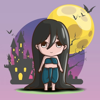 Cute mae nakh ghost on full moon background