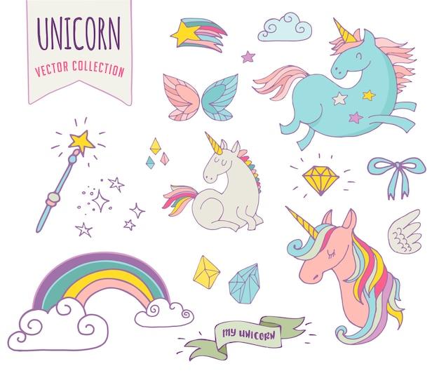 Милая волшебная коллекция с единорогом, радугой, крыльями феи и звездами Premium векторы