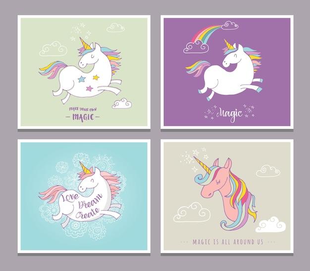 Симпатичные волшебный единок и радужные поздравительные открытки