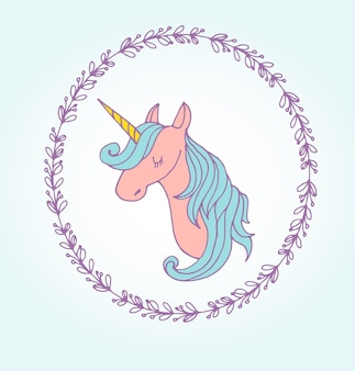 かわいい魔法のユニコンと虹のポスター、グリーティングバースデーカード