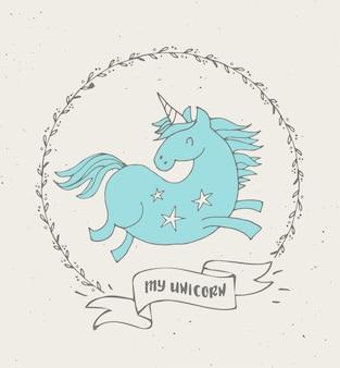 Cute magic unicon and rainbow poster, greeting birthday card