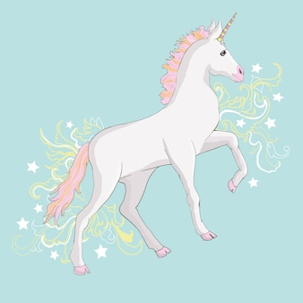 Cute magic unicorn cartoon fantasy