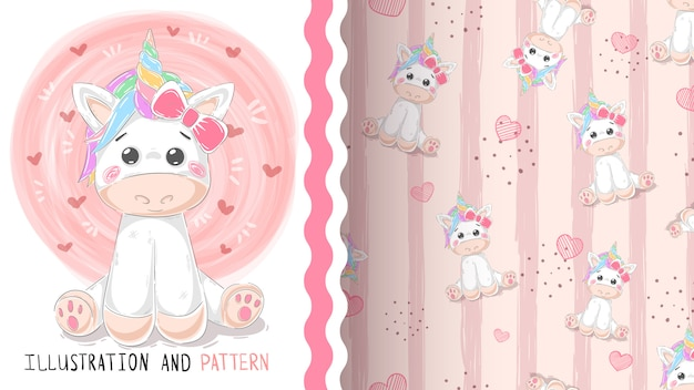 Cute magic unicorn seamless pattern