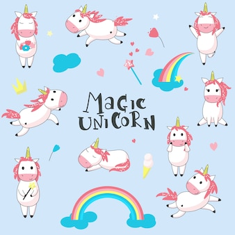Cute magic unicorn set. vector hand drawn illustration of romantic mythical creature unicorn and rainbows
