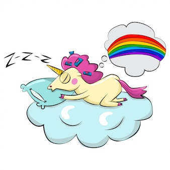 Cute magic unicorn with pink hair sleeping on a cloud and dreaming about rainbow.   cartoon illustration isolated on white  .