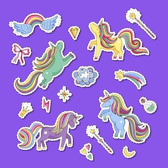 Cute magic unicorns and stars stickers set