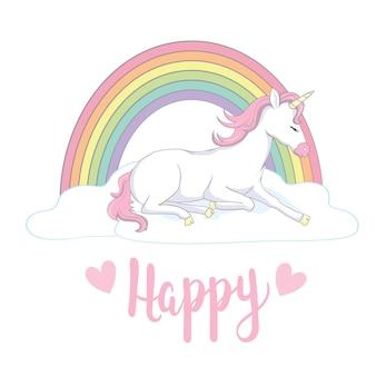 Милый волшебный единорог и радуга.