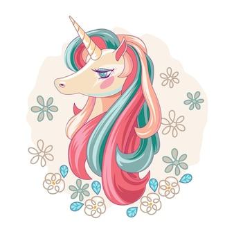 Cute magical unicorn handdrawn style