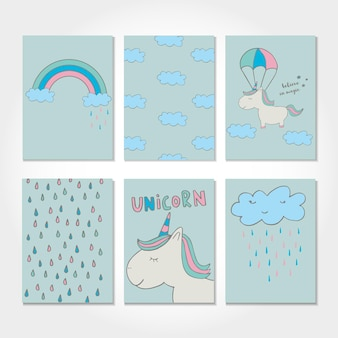 Cute magical unicorn. sweet kids graphics for t-shirts, baby shower, postcard, poster, banners, scrapbook, sticker, invitation design. vector illustration with doodle nursery art. Premium Vector