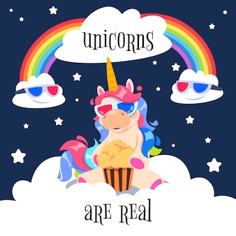 Cute magical unicorn with rainbow. fantasy pony on clouds.