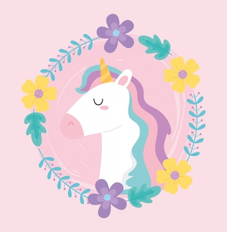 Cute magical unicorn wreath of flowers floral decoration animal cartoon vector illustration