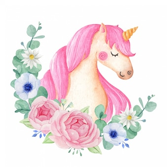 Cute and magical watercolor unicorn with flowers isolated in white background.