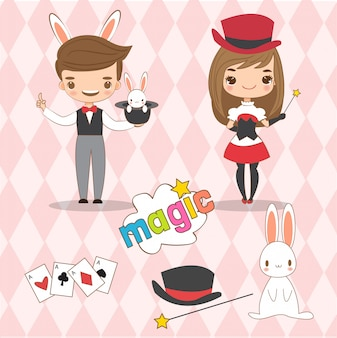 Cute magician and his assistant cartoon set