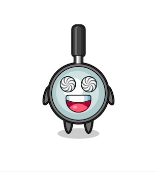 Cute magnifying glass character with hypnotized eyes , cute style design for t shirt, sticker, logo element