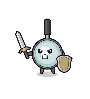 Cute magnifying glass soldier fighting with sword and shield , cute style design for t shirt, sticker, logo element