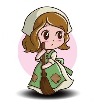 Cute maid cartoon character. job cartoon concept.