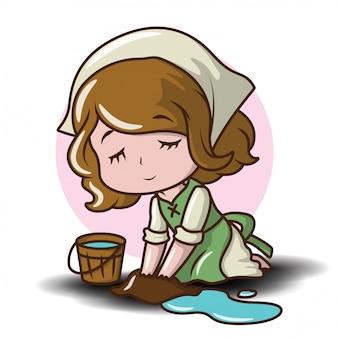 Cute maid cartoon character.
