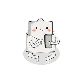 電話を使用して座っているかわいいメール漫画のキャラクター