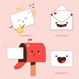 Набор милых почтовых персонажей мультфильмов