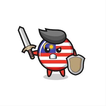Симпатичный солдат с флагом малайзии, сражающийся с мечом и щитом, милый стиль дизайна для футболки, наклейки, элемента логотипа