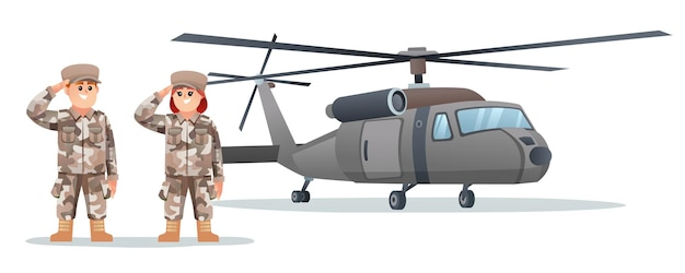 군용 헬리콥터가 있는 귀여운 남성과 여성 군인 캐릭터
