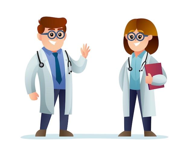 귀여운 남성과 여성 의사 만화 캐릭터