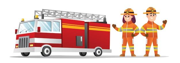 かわいい男性と女性の消防士の漫画のキャラクター