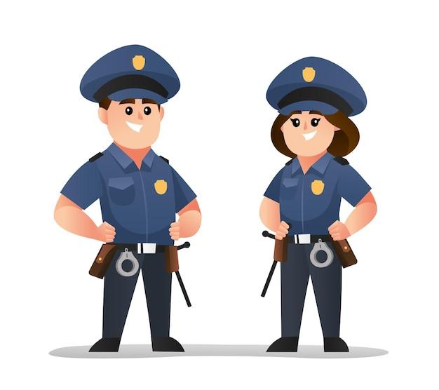 귀여운 남녀 경찰 캐릭터 세트
