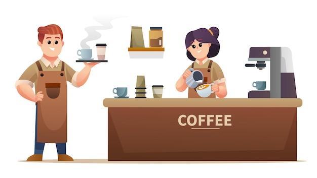 コーヒーを運ぶかわいい男性のバリスタとコーヒーショップのイラストでコーヒーを作る女性のバリスタ