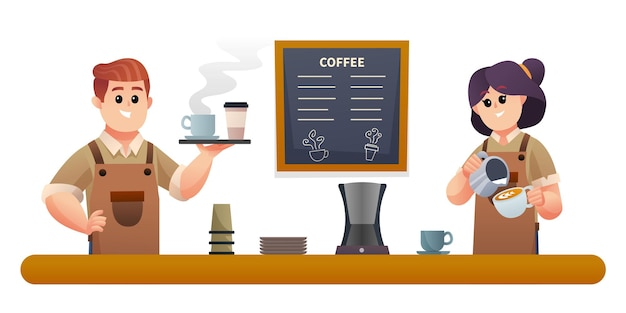 コーヒーを運ぶかわいい男性のバリスタとコーヒーのイラストを作る女性のバリスタ