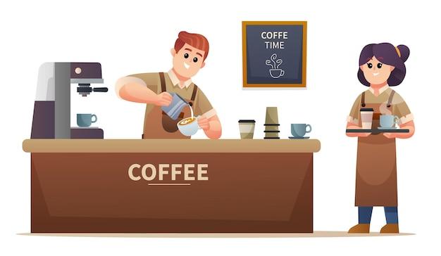 コーヒーを作るかわいい男性のバリスタとコーヒーショップのイラストでコーヒーを運ぶ女性のバリスタ
