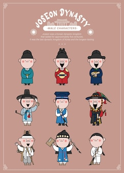 Cute male characters in various hanboks of the korean joseon dynasty