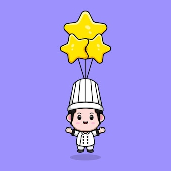 Cute male chef floating with star balloon cartoon mascot illustration