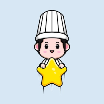 Cute male chef floating with star cartoon mascot illustration