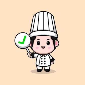 Cute male chef holding correct sign cartoon mascot illustration