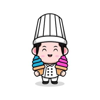 Симпатичный мужской шеф-повар держит иллюстрацию талисмана шаржа мороженого