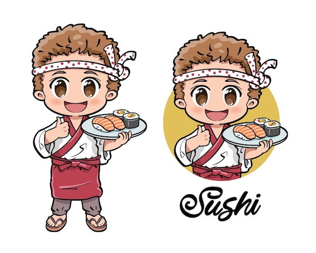 Cute male chef holding a plate of sushi
